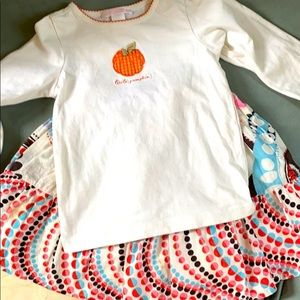 Janie & Jack pumpkin tee 2t and gap skirt xs